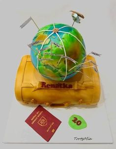 Traveler - Cake by TortyMia Gravity Defying Cake, Travel Cake, Retirement Cakes, Awesome Cakes, Edible Art, Daily Inspiration, Cake Decorating, Goodies, Death