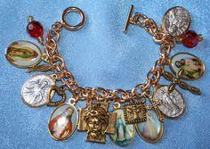 Religious Saint Medal Charm Bracelet nv1a by faithsymbol on Etsy, $28.99
