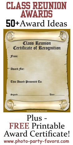 Free Printable Class Reunion Award Certificate With More Than  Ideas For High School Reunion Awards