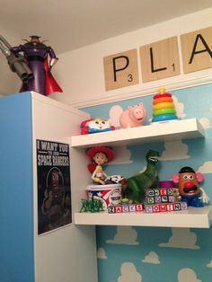 A toy story themed baby boy nursery with a tad of some other Pixar and Disney movies.