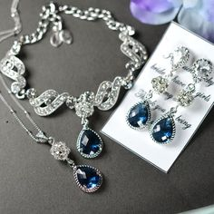 Bridesmaid jewelry sapphire blue Drop Earrings Necklace Bracelet SET Wedding Bridal Wedding Bridal Jewelry Bridesmaid Gift Something blue Price is