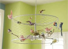 bell shaped frame + chicken wire + birds + wiring/lamp = chandelier