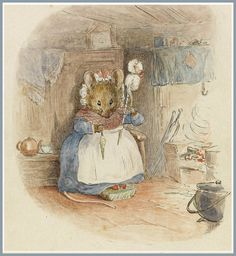 "Beatrix Potter (British author & illustrator) 1866 - 1943 Mouse Hand-Spinning by the Fire, 1900 ink and watercolour drawing x cm.) signed lower right corner ""HBP"" together with greeting below image ""I wish you a Happy New Year Beatrix Potter Illustrations, Beatrice Potter, Peter Rabbit And Friends, Children's Book Illustration, Book Illustrations, Hand Spinning, Fiber Art, Illustrators, Fairy Tales"