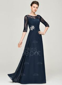 A-Line/Princess Scoop Neck Floor-Length Chiffon Lace Mother of the Bride Dress With Ruffle Beading Sequins (008062578)