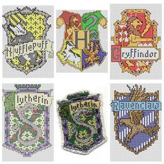 """truebluemeandyou: """" DIY Cross Stitch Charts for Hogwart Houses by Ronjaliek on Deviantart. Do you know someone who loves anything Harry Potter? Ronjaliek links the finished patches in each post. Pixel Art Harry Potter, Harry Potter Chess Set, Cross Stitch Harry Potter, Harry Potter Diy, Cross Stitch Charts, Cross Stitch Designs, Cross Stitch Patterns, Cross Stitching, Cross Stitch Embroidery"""