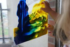 """put finger paint in a ziplock bag, tape to sliding glass door or window and you have a mess free """"painting"""" activity for the kiddos!"""