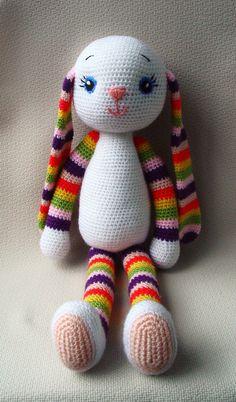Crochet Bunny  Crochet toy  Multicoloured soft bunny by NittoMiton