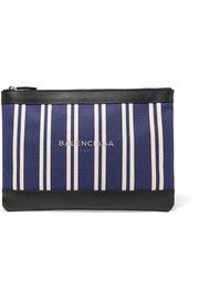 Leather-trimmed striped canvas pouch