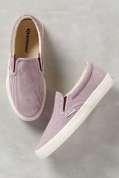 Superga Striped Slip-On Sneakers Red Sneakers On Shoes, Me Too Shoes, Shoe Boots, Shoes Heels, Pumps, Slip Shoes, High Heels, Slip On Sneakers, Casual Sneakers