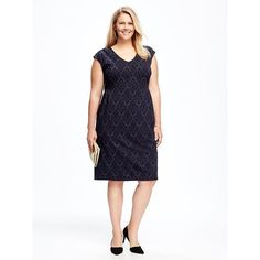 Old Navy Patterned Plus Size Sheath Dress ($42) ❤ liked on Polyvore featuring plus size women's fashion, plus size clothing, plus size dresses, plus size, white ruched dress, white jersey, white jersey dress, white fitted dress and white v neck dress