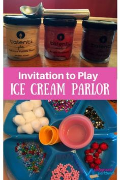Looking for a fun, imaginative play activity? Check out our Invitation to Play Ice Cream Parlor, complete with 'ice cream' recipes and decoration set up. It will entertain your preschooler for hours! Play Ice Cream, Ice Cream Theme, Ice Cream Parlor, Ice Cream Parlour Role Play, Dramatic Play Themes, Dramatic Play Area, Dramatic Play Centers, Play Based Learning, Learning Through Play