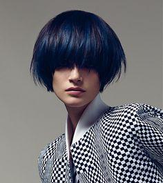 Dark blue highlighted & layered bob haircut by Vidal Sassoon