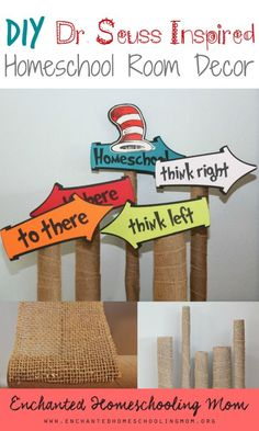 Dr. Seuss inspired homeschool room décor with easy to create Dr. Seuss signs to encourage and inspire children. Great for a Dr. Seuss-themed classrooms. SO cute!!!