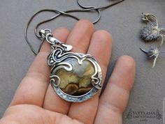 """Купить Серебряный кулон """"Medeya"""" с симбирцитом - комбинированный, серебряный кулон, кулон с симбирцитом, подвеска с симбирцитом"""