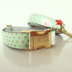 Adjustable dog collar Mint & dots by Frenchiclove on Etsy