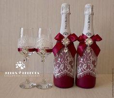 """Купить Свадебное шампанское """"Марсала"""" - бордовый, марсала, свадьба марсала, марсала свадьба, свадебное шампанское"""
