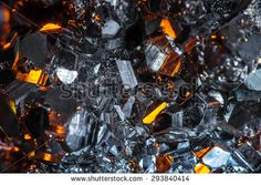 Raw pyrite crystals close-up - stock photo