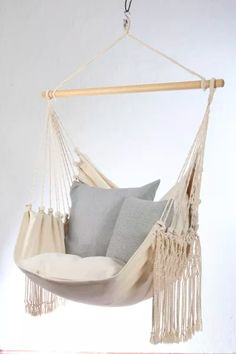Lazy Rest Hengestol Natural Cotton (544-HCXL-329C) Outdoor Furniture, Outdoor Decor, Hanging Chair, Hammock, Rest, New Homes, Nature, Cotton, Front Porch