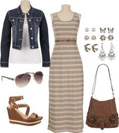 """Maxi Dress  Denim"" by sarah-noonan-dlugosh ❤ liked on Polyvore"