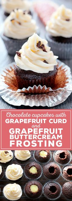 Grapefruit curd and grapefruit buttercream frosting are delicious when enjoyed with your favorite chocolate cupcake recipe. They are the perfect way to enjoy winter citrus! | http://honeyandbirch.com