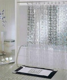 Brand New White Transparent Mosaic PVC Bathroom Shower Curtain