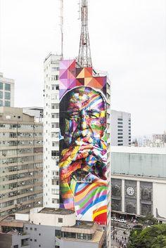 Oscar Niemeyer Graffiti Portrait by Eduardo Kobra In Sao Paulo, Brasil