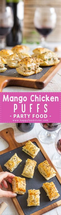 Mango Chicken Puffs Appetizers - Easy Party Food Recipe | http://happyfoodstube.com