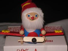 Steinbach wooden Santa in aeroplane - German German, Santa, Christmas Ornaments, Holiday Decor, Vintage, Collection, Home Decor, Deutsch, Decoration Home