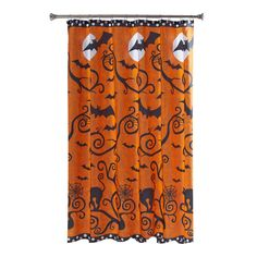 Halloween Shower Curtain Orange Black Fabric Cats Bats