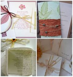 DIY Wedding Invitations Go Eco-Chic - Green is the New Ivory. Read more: http://memorablewedding.blogspot.com/2013/08/diy-wedding-invitations-go-eco-chic.html