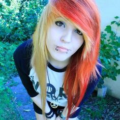 Red orange and blonde #dyed #hair #pretty i like the colors