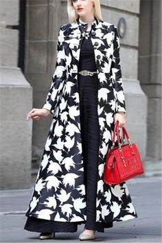 Product Autumn and winter fashion prints warm long coats Brand Name Icefancy SKU Gender Women Style Elegant/Sexy/Fashion Type Jackets & Coats Material Polyester Decoration Printing Please Note:All dimensions are measured manually with a deviation of 1 to Abaya Fashion, Fashion Moda, Look Fashion, Winter Fashion, Fashion Dresses, Womens Fashion, Cheap Fashion, Fashion 2018, Lehenga