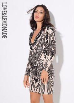 7e49cd60bc7 Women Deep V-Neck Geometry Sequined Long Sleeve Mini Dress