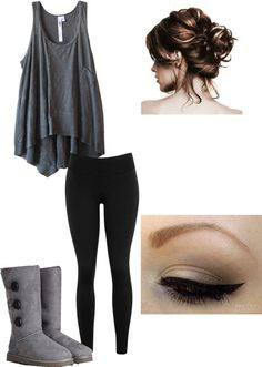 """""""lazy day with the girls"""" by turnerashleigh ❤ liked on Polyvore...don't care for Tue boots things..but still a cute outfit"""