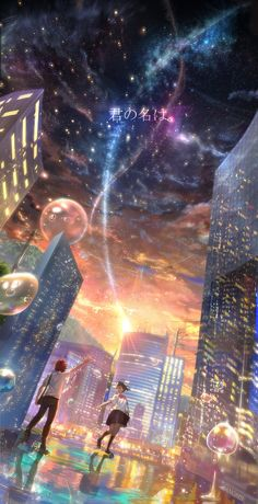 Wallpaper - Kimi no Na wa., Wallpaper - Kimi no Na wa. Kawaii Anime, Anime Pokemon, Fantasy Kunst, Fantasy Art, Fantasy Landscape, Landscape Art, Anime Love, Manga Art, Manga Anime