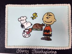 Peanuts Charlie Brown and Snoopy Thanksgiving cake.