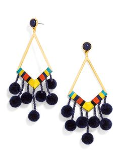 Navy pom-poms and bold threading create these crafty, head-turning statement drops. Tassel Jewelry, Metal Jewelry, Jewellery, Navy Earrings, Tassel Earrings, Dangle Earrings, 49er, Diy Accessories, Summer Trends