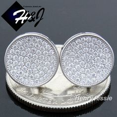 Cool Great MEN 925 STERLING SILVER 12MM LAB DIAMOND ICED ROUND SCREW BACK STUD EARRING*E111  2017-2018