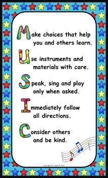 This succinct, eye-catching poster uses the word 'MUSIC' as an acrostic. These rules support positive, desired student behavior and cover all of my expectations well. I've seen several variations of this idea online, so I decided to share my version FREE.