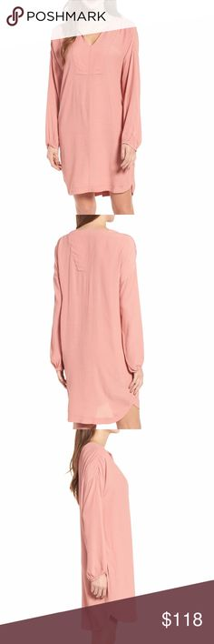 Madewell Small Pink Long Sleeve Tunic Dress A fuid, modern take on a T-shirt dress is back with cool weather-friendly three-quarter sleeves. Wear it to work or take it to a party.  - V-neck - Nonwaisted - Long sleeves - Pockets - 100% viscose - Dry clean - Retails for $118  Smoke free home. Madewell Dresses Midi