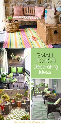 Small Porch Decorating Tips & Ideas! Love the small bench with the cushions hung. Small Porch Decorating Tips & Ideas! Love the small bench with the cushions hung on the wall! Could so work for my patio! Outdoor Rooms, Outdoor Living, Outdoor Furniture Sets, Outdoor Decor, Small Porches, Decks And Porches, Front Porches, Small Porch Decorating, Decorating Tips