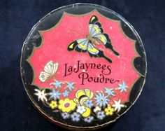 La Jaynees Poudre Vintage Face Powder from France with Butterfly on Box