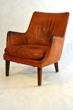 Easy Chair in leather by Arne Vodder for Ivan Schlechter, 1953.