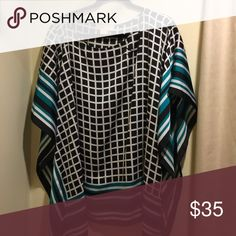 MICHAEL Michael Kors Blouse MICHAEL Michael Kors Blouse.  Black and white plaid, kaftan style, with striping on the bottom and sleeves.  Gently worn.  Size 2x. Michael Kors Tops Blouses