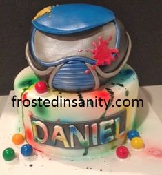 Frosted Insanity: Paintball Cake - Real Time - Diet, Exercise, Fitness, Finance You for Healthy articles ideas Paintball Cupcakes, Paintball Cake, Paintball Birthday Party, Paintball Field, Dad Birthday Cakes, 10th Birthday Parties, 12th Birthday, Boy Birthday, Birthday Ideas