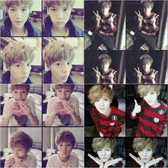 Luhan the type of oppa that use 4 frames of his 'kinda-manly-and-cutie' poses for his selca gdi im dying *____*