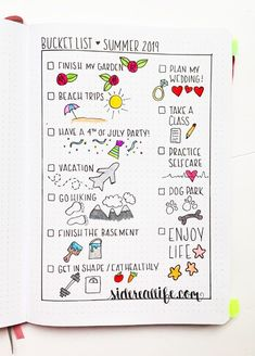 Bucket list for summer bullet journal spread.
