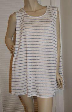 Ava And Viv 4X Plus Size Sleeveless Blue White Stripe Nautical Preppy Sheet Back #AvaViv #Blouse #Casual
