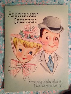 Anniversary Greetings with nostalgic picture of turn-of-the-century husband and wife wearing hats. Congratulations and best wishes for years and years of happiness! Wedding Anniversary Greeting Cards, Anniversary Greetings, Wedding Cards, Happy Aniversary, Nostalgic Pictures, Congratulations And Best Wishes, Cute Illustration, Wedding Illustration, Hallmark Cards