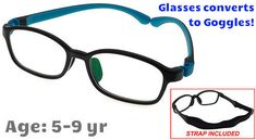 8d43a416103  5-9 yrs  Kids Glasses - Flexible 9005C5 Black with Blue 48 Size + Goggles  Conversion Kit